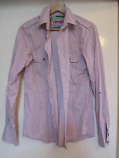 """Mens Pink Grey & White Stripe Casual TopMan Shirt Size Small - Chest 34"""""""
