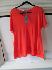 Eileen Fisher Silk Tussah with Chiffon Trim V Neck Firefly Box Top - XS -$238