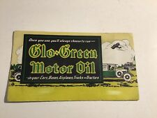 1920s Glo Green Motor Oil Ink Blotter Gas Service Station Auto Plane