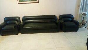 3-Pc.Black Leather Sofa