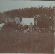 Large 1910 Card Mounted Western Photo Men eating Breakfast by Chuck Wagon