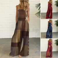 US Womens Strappy Dungarees Ladies Printed Jumpsuit Casual Overalls Beach Romper