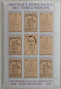SAO TOME & PRINCIPE 1982 XF MNH** Sheet , PICASSO, Painting, Stravinski Music