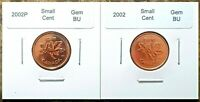 Canada 2002P and 2002 Small Cent GEM BU UNC Pennies!!