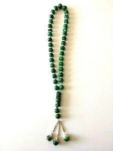 Grüne orientalische Gebetskette Kette Mesbaha Tesbih Sobha 33 Perlen 32 cm NEU
