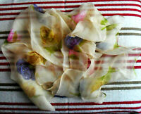 Vintage Square Sheer Chiffon SCARF, Hot Pink, Blue, Yellow Roses on Pale Yellow
