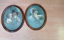 2 Bilder, Antik, Mutter mit Kind, mit Signatur, Holzrahmen.