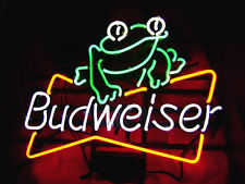 "New Budweiser Frog Bud Light Beer Real Glass Neon Sign 17""x14"""