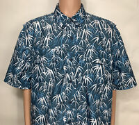 DULUTH TRADING CoolPlus S/S Shirt Mesh Vented Blue Leaf Floral Men's XL
