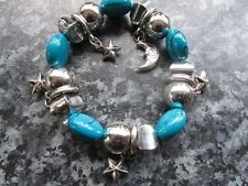 Blue Silver bead bracelet plastic 8 inch 5 silver charms moon star costume