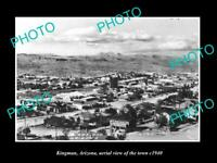 OLD POSTCARD SIZE PHOTO OF KINGMAN ARIZONA AERIAL VIEW OF THE TOWN c1940