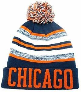 Chicago Bears Navy / Orange Classic POM Ball Knit Hat Cap Winter Ski Beanie