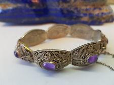 Rare antique à l'exportation Chinois Améthyste Bracelets 44.9 G