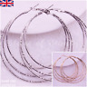 Gold Silver HOOPS Plain EARRINGS 60MM Round LARGE Small Big FASHION Jewellery UK