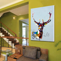 Hand-painted Animal oil painting Modern Wall Art Canvas Abstract Deer 24x36inch