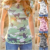 Womens Summer Funny Cat Camo T-shirt Cute Casual Short Tops Shirt Plus Szie