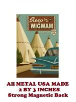 SM230- Route 66 Wigwam Travel Poster 2 by 3 Inch Metal Refrigerator Magnet