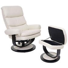 Relaxsessel Fernsehsessel TV Sessel Hocker mit Staufach Kunstleder Creme 55628