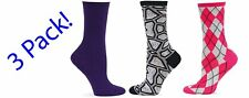 Hot Sox Women's Sox 3 Pack Crew Socks Purp Cashmere, Turtle Sheel, Pink/Gry NWT
