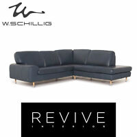 Willi Schillig Leder Ecksofa Blau Sofa Couch #12815
