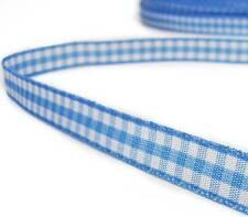 "2 Yds Blue White Gingham Reversible Ribbon 3/8""W"
