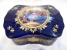 VINTAGE COBALT BLUE & GOLD LIMOGES BIG TRINKET BOX, MADE IN FRANCE