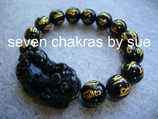 Feng Shui - 12mm Black Onyx Mantra Pi Yao Bracelet (Wealth & Protection)