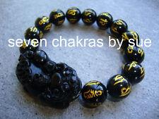 Feng Shui - 12mm Black Onyx Mantra Pi Yao Bracelet (Wealth & Protection)