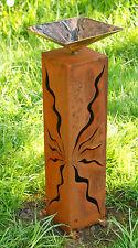 Rost Säule Gartendeko  60cm mit kleiner Schale Steele