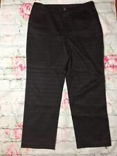 PECK & PECK Women's Size 16 Cotton Blend Brown Logo Pants Career Casual  H60