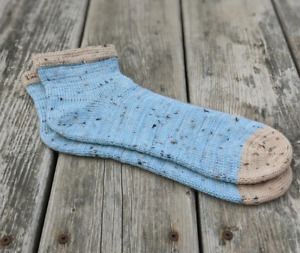 Merino Wool Superwash Handmade Short Socks - Men or Women - Ice Blue