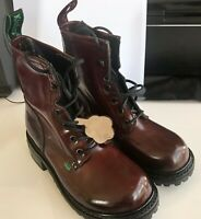 Womens Burgundy Kickers Leather Boots Shoes US 7