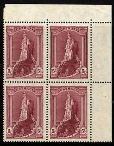 AUSTRALIA 1949  5/= ROBES sg 176a UNMOUNTED - NEVER HINGED BLOCK OF 4