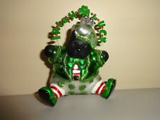 Irish Luck Christmas Tree Ornament Black Dog Scottie Blown Glass Ireland 4""