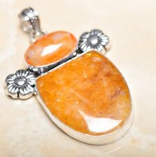 "Handmade Calcite Jasper Gemstone 925 Sterling Silver Pendant 2.5"" #P14968"