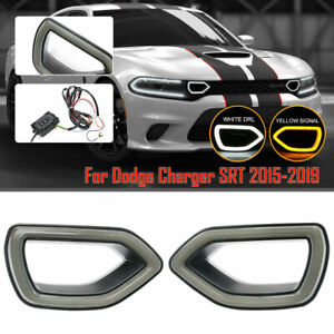 Fits 15-19 Dodge Charger SRT Scat War Horse Pack Grille Smoke LED Light Pig Nose