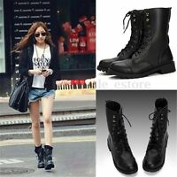 Cool Women Black Punk Knight Military Army Lace-up Short Martin Boots Flat Shoes