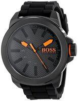 Hugo Boss Original 1513004 Men's Orange New York Black Silicone Watch