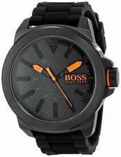 Hugo Boss Original 1513004 Men's Orange New York Black Silicone Watch