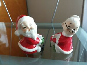 VINTAGE LEFTON SANTA AND MRS. CLAUSE CANDLE CLIMBERS...NEW