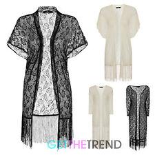 Womens Floral Black Lace Kimono Loose Ladies Waterfall Lace Cardigan Cardi Top