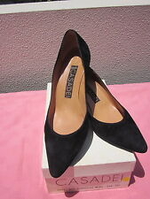 CASADEI SHOES W/BOX,MADE IN ITALY, SZ 39 1/2,NICE BLACK SHOES, MEDIUM HEELS
