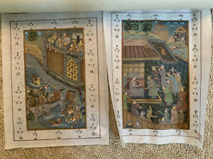 Hand Painted Indian Painting Mughal Finest Art On Silk