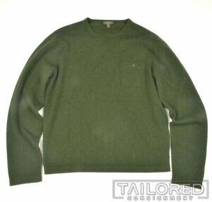 AVON CELLI Solid Green 100% Cashmere Woven Sweater Mens - SMALL