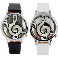 Women Men Vogue Musical Note Notation Faux Leather Strap Quartz Wrist Watch Gift