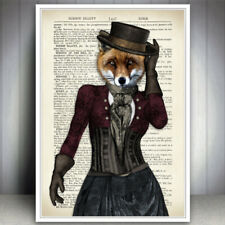 FOX DRESSED ANIMAL WALL ART PRINT VINTAGE DICTIONARY STYLE  PAGE ANTIQUE BOOK