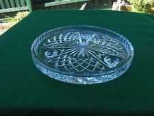 VINTAGE HAND CUT BOHEMIA CRYSTAL CAKE STAND TRI FOOTED