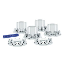 Set Chrome Semi Truck Front & Rear Axle Covers w/ Hubcaps 33mm Lug Nuts Kit