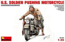 MINIART MODEL KIT MIN35182 - Miniart 1:35 - U.S. Soldier Pushing Motorcycle
