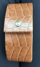 TOMMY BAHAMA BROWN CROC LEATHER HALF MOON HARD CASE FOR SUNGLASSES OR EYEWEAR